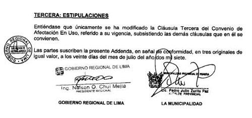Facsimil de la última página de un Convenio de Afectación en Uso entre el Gobierno Regional de Lima y la Municipalidad Provincial de Huaura – Huacho, del 20 de julio de 2007, publicado en la página web www.regionlima.gob.pe, donde Nelson Chui firma como Ingeniero.