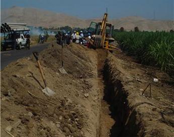 Trabajos de excavación en jurisdicción de Pativilca (Tunsan)