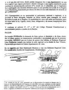 Sentencia del Juez de Cañete.