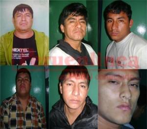 (Arriba) Edwin Reyes, Ronald Cóndor, Nolasco Palacios. (Abajo) Juan José Suárez, Alfredo Mariano, Segundo Pérez.