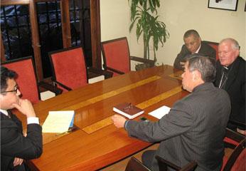 Reunión con el presidente del Gobierno Regional de Lima, y el Obispo de la Diócesis de Huacho.