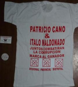 Polo publicitario con el nombre de Italo Maldonado usando ilegalmente el símbolo de Confianza Perú