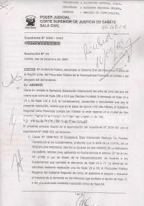 Resolución de la Corte Superior de Justicia de Cañete