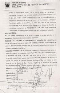 Resolución de Sala Civil de la Corte Superior de Justicia de Cañete